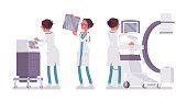 Female doctor X-raying