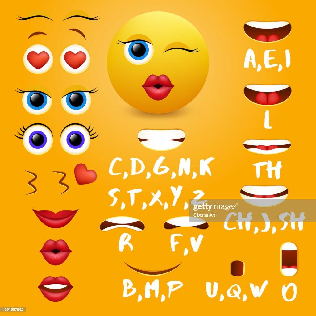 Female emoji mouth animation vector design elements
