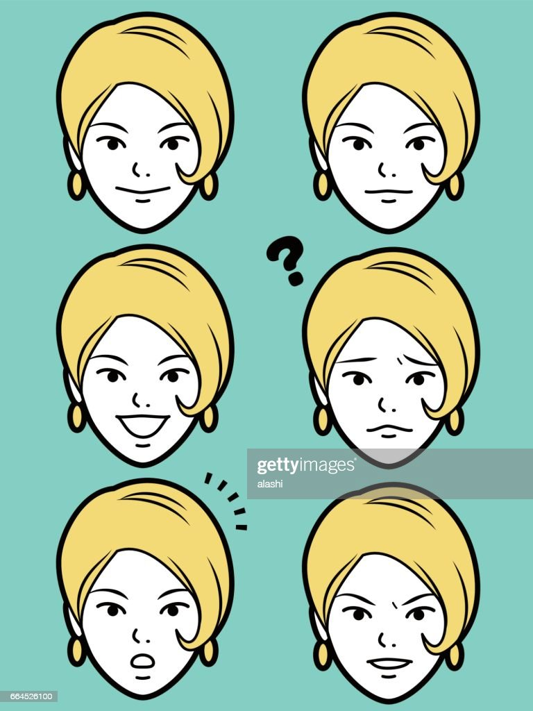 female emoticon young adult girl face with Bob Cut Hair
