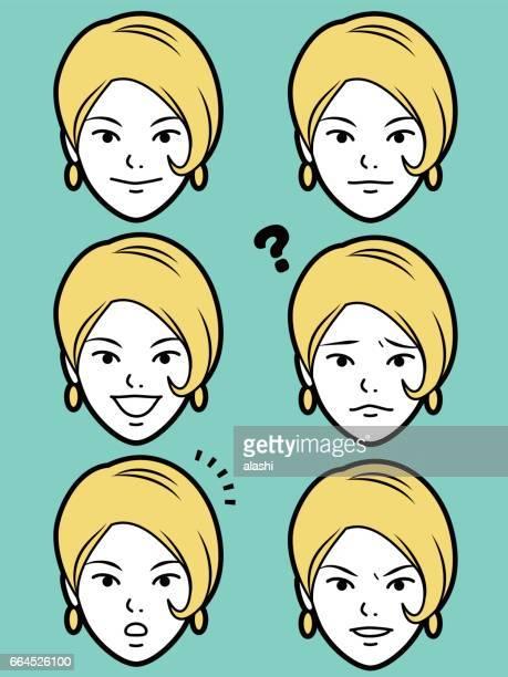 weibliche Emoticon junge Erwachsene Mädchen Gesicht mit Bob schneiden Haare