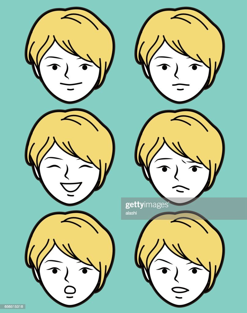 female emoticon young adult girl face with short cropped hairstyle and slanted eyes