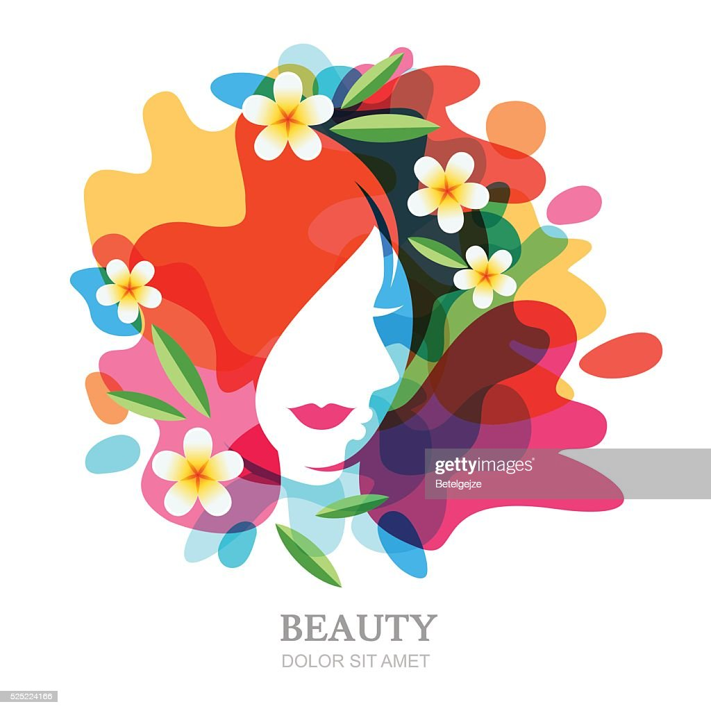 Female face and plumeria flowers on multicolor splash background