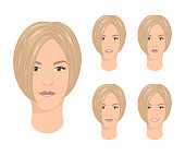 Female face expressions vector