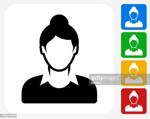 Female Face Icon Flat Graphic Design