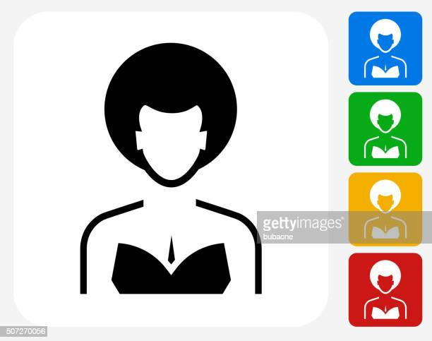 female face icon flat graphic design - afro stock illustrations
