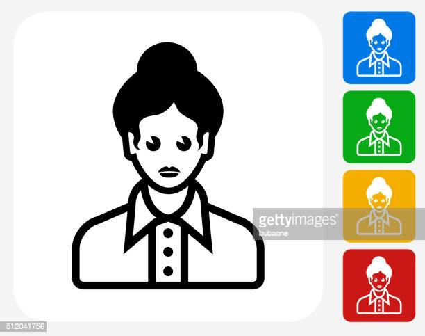 female face icon flat graphic design - updo stock illustrations, clip art, cartoons, & icons