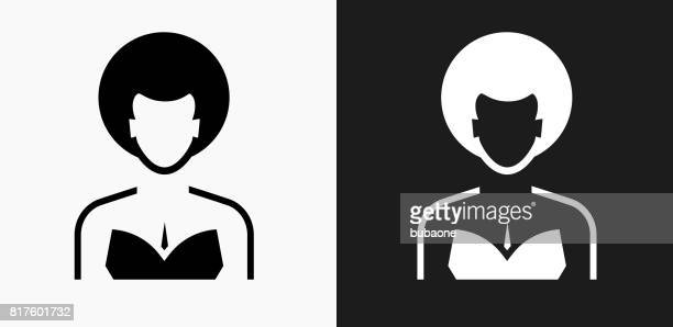 Female Face Icon on Black and White Vector Backgrounds