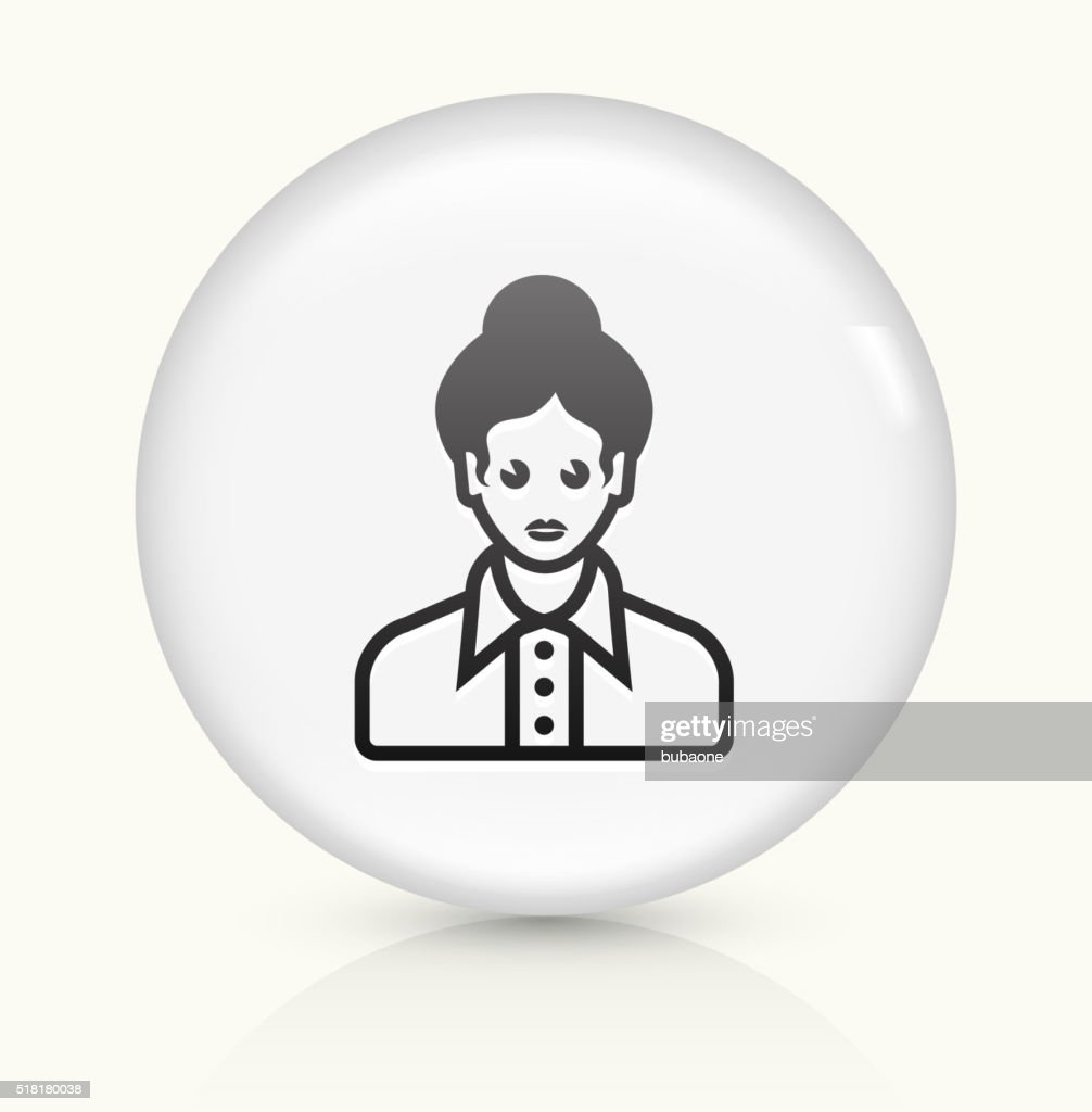 Female Face icon on white round vector button : stock illustration