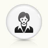 Female Face icon on white round vector button