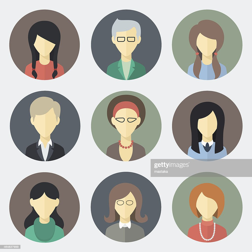 Female Faces Icons Set