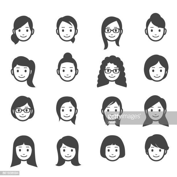 female faces icons - only women stock illustrations, clip art, cartoons, & icons