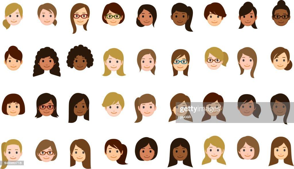 Iconos de caras de mujer : Ilustración de stock