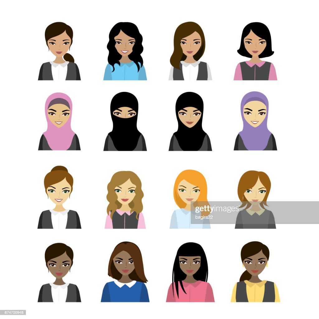 female faces  of different races