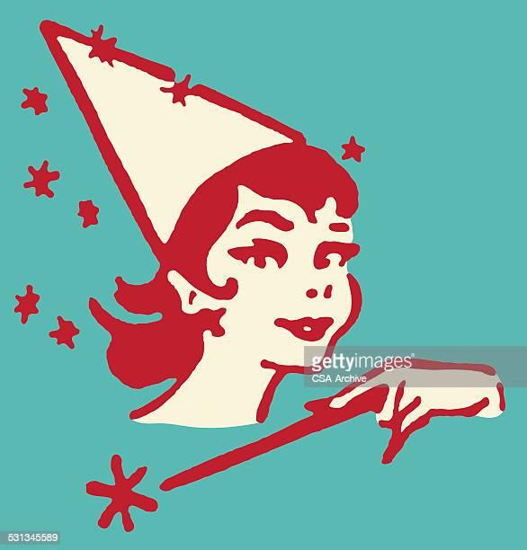 female fairy with magic wand - magic wand stock illustrations