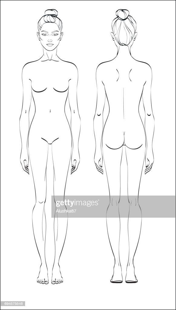 Weibliche Figur Vorder Und Rückseite Menschlichen Körper In Linearen ...