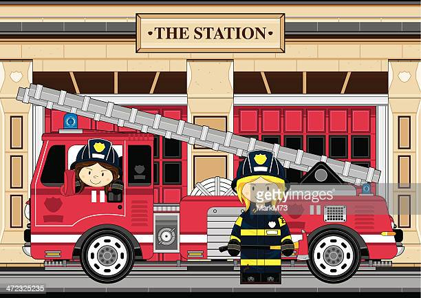 female fireman and fire engine scene - fire engine stock illustrations, clip art, cartoons, & icons