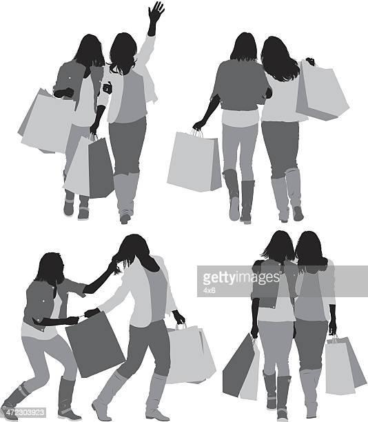 ilustraciones, imágenes clip art, dibujos animados e iconos de stock de hembra amigos con bolsas de la compra - tirarse de los pelos