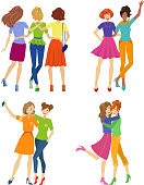 Female friendship, beautiful girl friends hugging