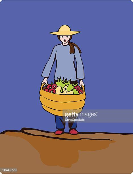 Female gardener holding basket with vegetables and Fruits of Labor