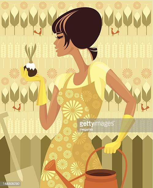 ilustraciones, imágenes clip art, dibujos animados e iconos de stock de hembra paisajista. - espiga de trigo