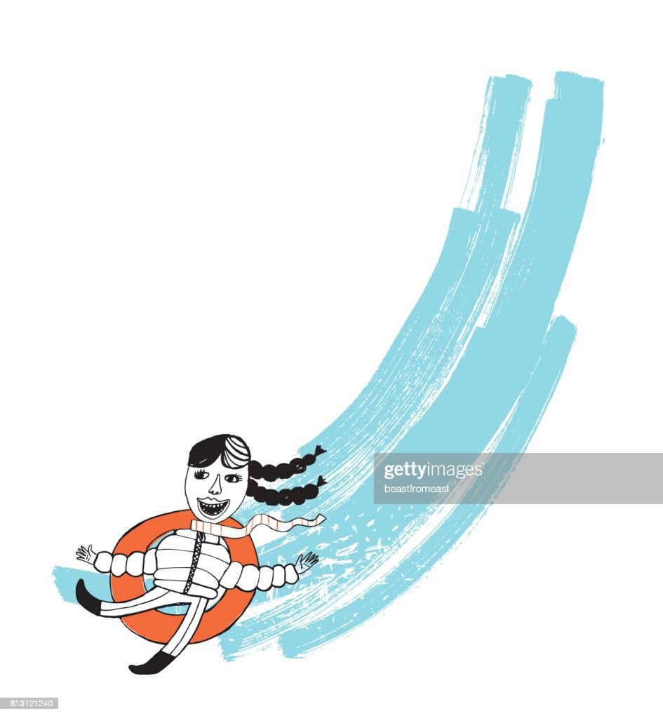Female going down the hill on rubber tube