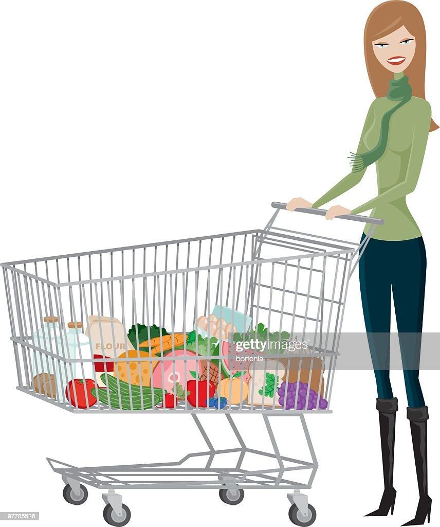Mulher Vendedor de Legumes e Fruta Shopper : Arte vetorial