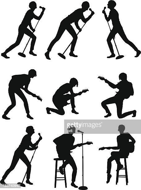 female guitarist giving performance - image technique stock illustrations
