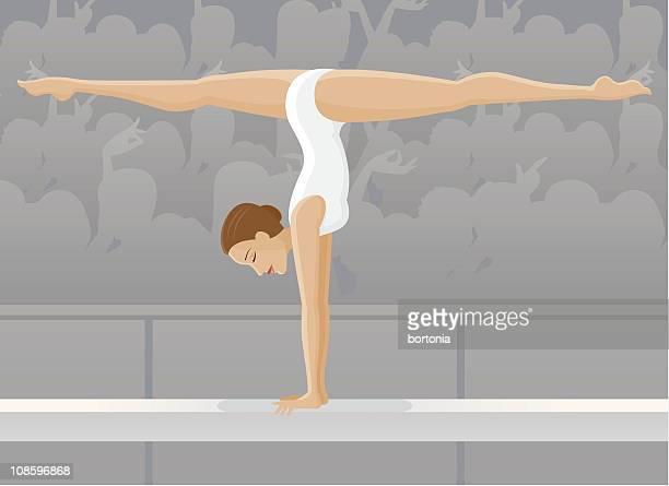 female gymnast on balance beam - gymnastics stock illustrations