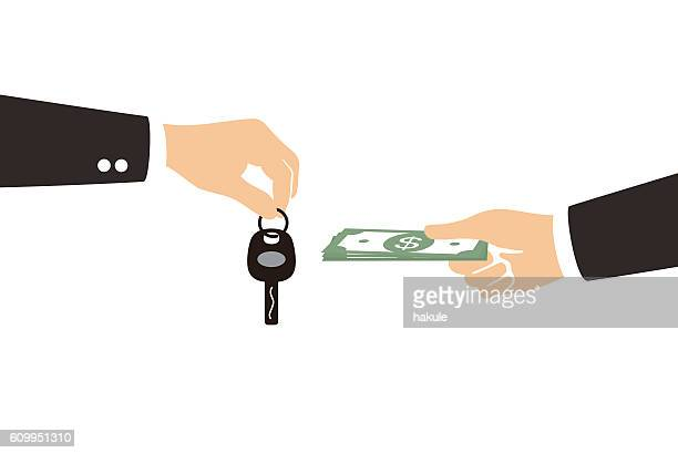 female hand giving money and receiving car keys from seller