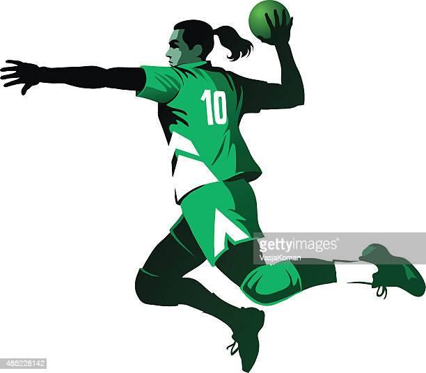 female handball player jumping with ball - isolated - handball stock illustrations
