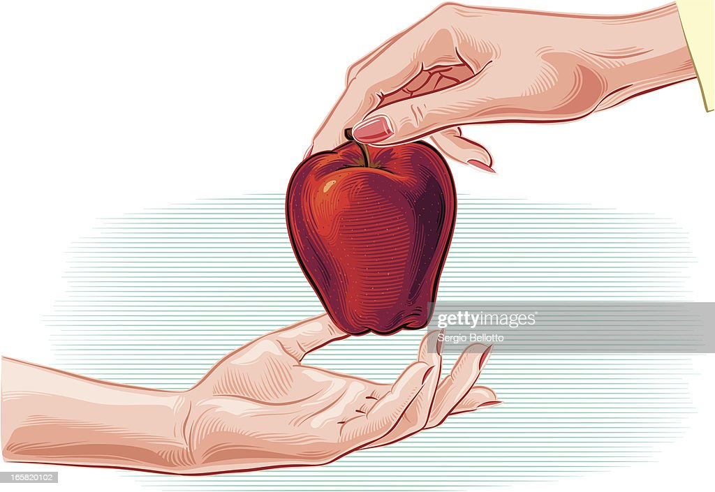 female hands and apple