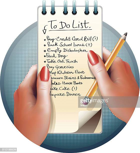 female hands and to do list - shopping list stock illustrations, clip art, cartoons, & icons