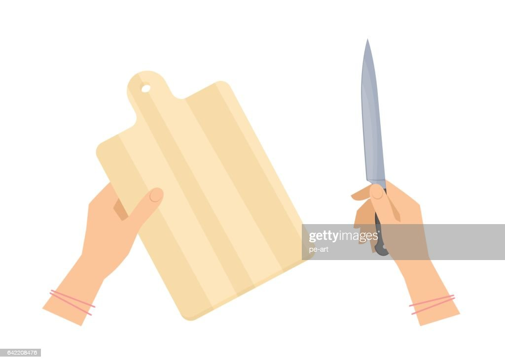 Female hands with wooden cutting board and steel kitchen knife.