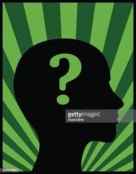 stockillustraties, clipart, cartoons en iconen met female head profile question mark - ziekte van alzheimer