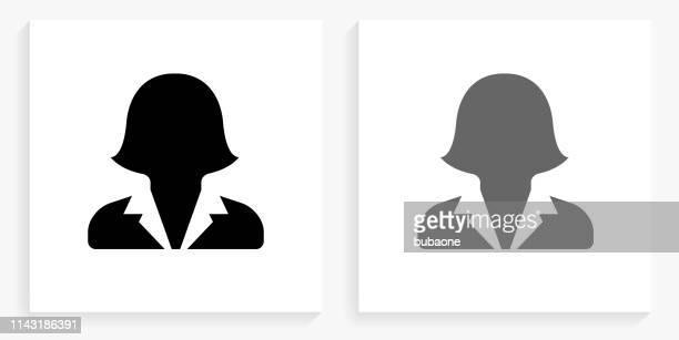 female headshot black and white square icon - headshot stock illustrations
