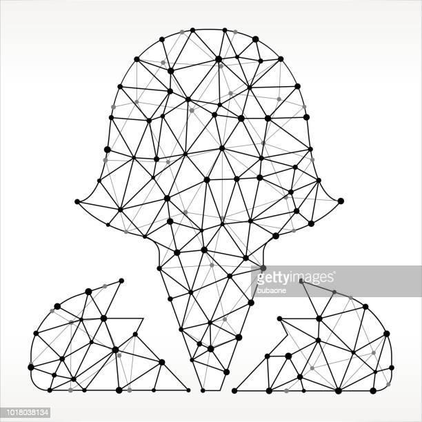 女性ヘッド三角形ノードの黒と白のパターン
