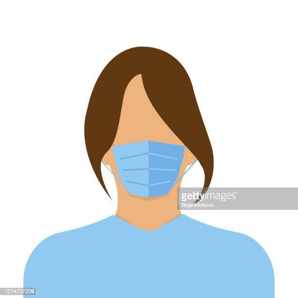 ilustrações, clipart, desenhos animados e ícones de médica da operadora de saúde usando máscara cirúrgica. vetor - female surgeon mask