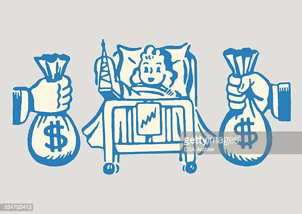ilustraciones, imágenes clip art, dibujos animados e iconos de stock de hembra hospital paciente se les bolsas de dinero - maltrato infantil