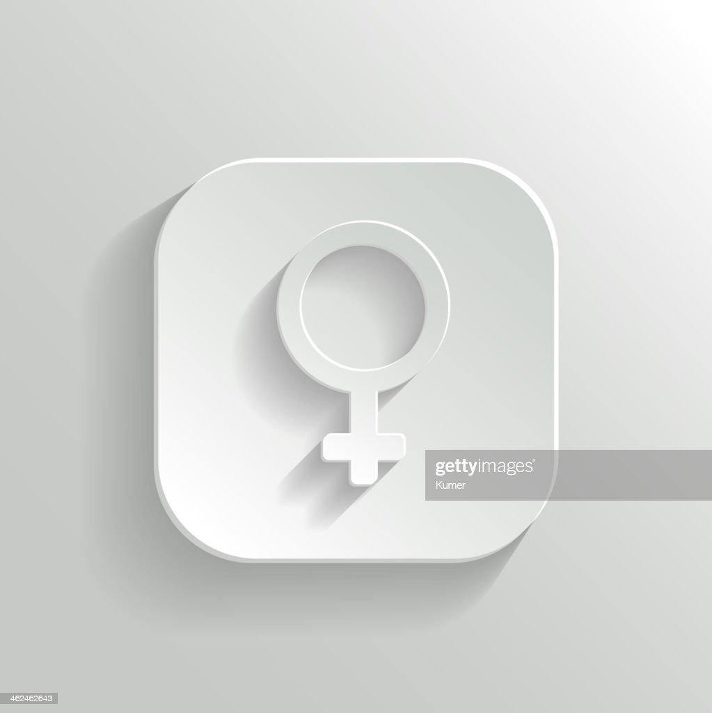 Female icon - vector white app button