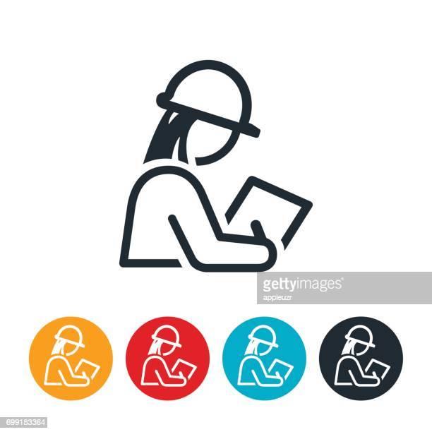 ilustraciones, imágenes clip art, dibujos animados e iconos de stock de icono femenino de inspector - ingeniero civil