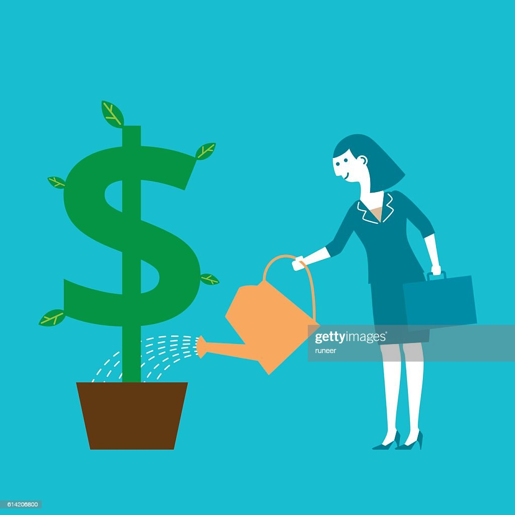 Female Investor Watering Dollar Sign Plant | New Business Concept