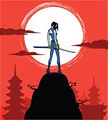 Female Japanese Ninja Stalking in the Night