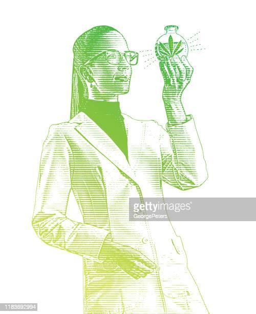 cbdオイルのビーカーを調べる女性ラボ技術者 - 精油点のイラスト素材/クリップアート素材/マンガ素材/アイコン素材