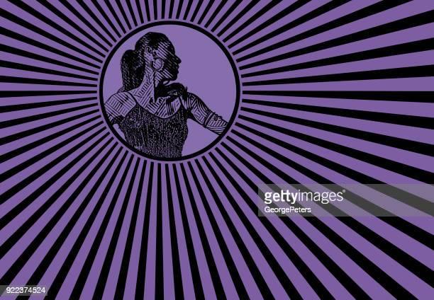 ilustraciones, imágenes clip art, dibujos animados e iconos de stock de bailarina latina con fondo de estilo retro pop art - latin american dancing