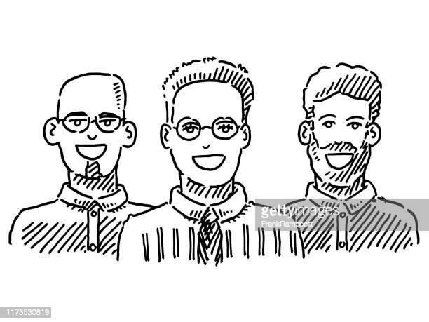 female leader business team drawing - three people stock illustrations