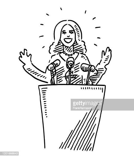 illustrations, cliparts, dessins animés et icônes de leader féminin retenant un dessin de discours - pupitre