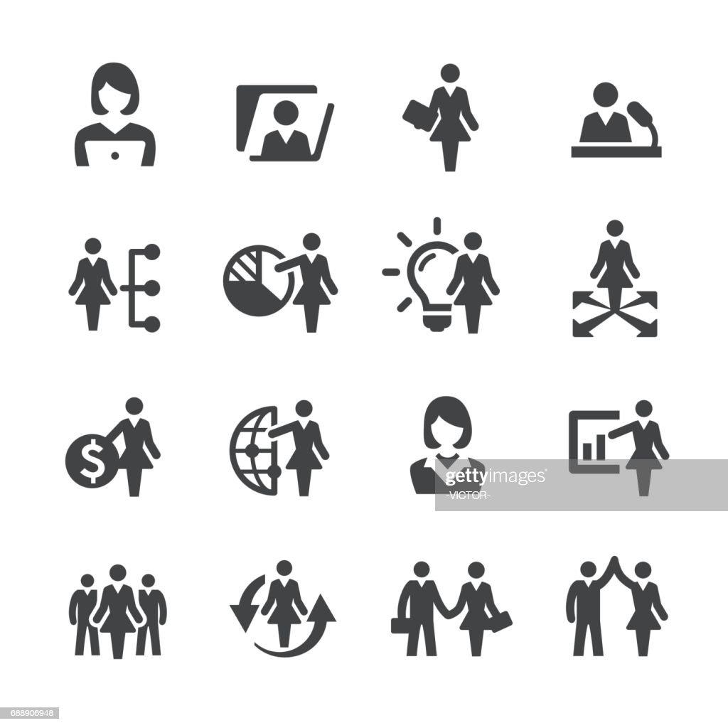 Iconos de mujeres líderes - serie Acme : Ilustración de stock