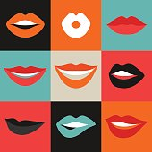 Female lips set. Mouths with red lipstick in variety of
