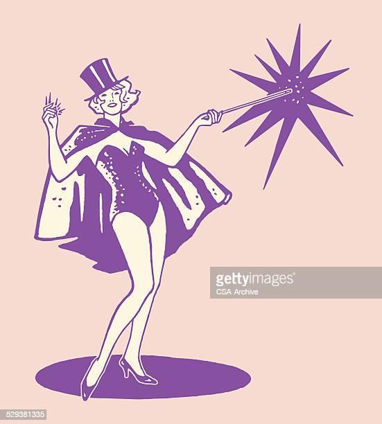 female magician - magical equipment stock illustrations, clip art, cartoons, & icons