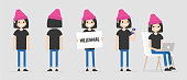 Female millennial character in various poses: front and back view, holding a sign, checking the phone, working on a laptop. Lifestyle. Flat editable vector illustration, clip art